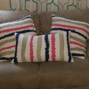 Other - 3 Piece Throw Pillows Navy, Pink Beigh